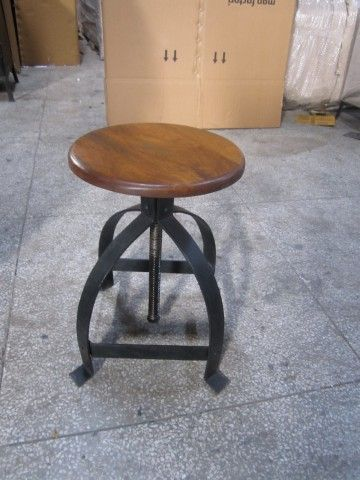 Iron And Wood Adjustable Stool - IND018 | Chairs & Stools Direct