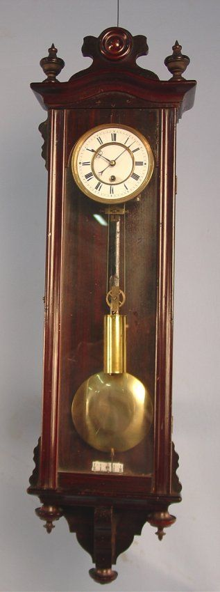 Miniature Vienna One Weight Regulator Clock, 29in.