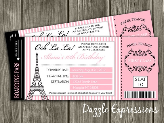Paris Boarding Pass Birthday Invitation FREE by DazzleExpressions