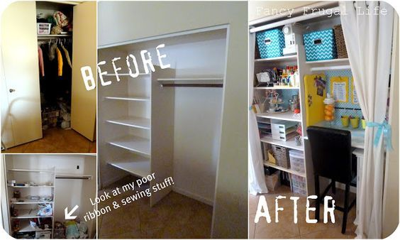 For those with little space! Your craft office can still exist, with this super cute DIY idea. Organization is the key.