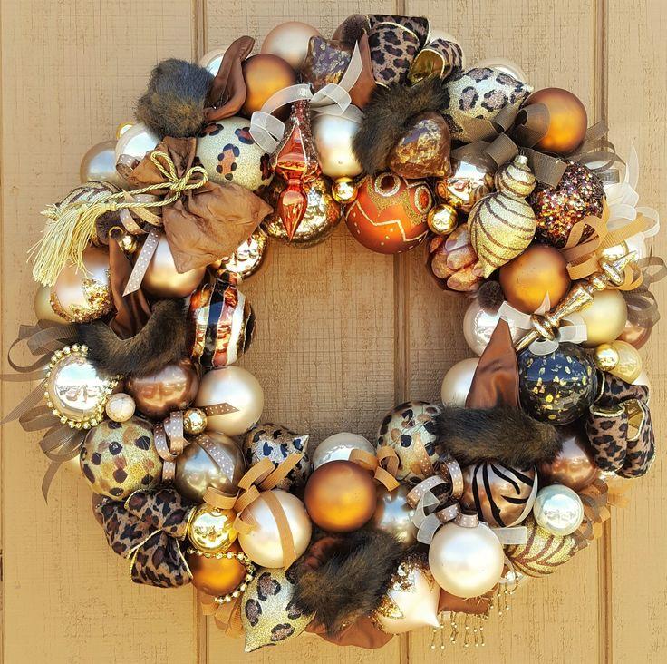 "24"" Glass Christmas Ornament Wreath Hand Crafted; Animal Print; Wildlife; Everyday Wreath; Leopard Zebra Giraffe by GenerationsEstate on Etsy"