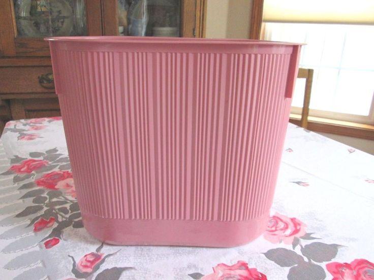 Rubbermaid Vintage Retro Pink Waste Paper Basket Garbage Can Bathroom  Bedroom