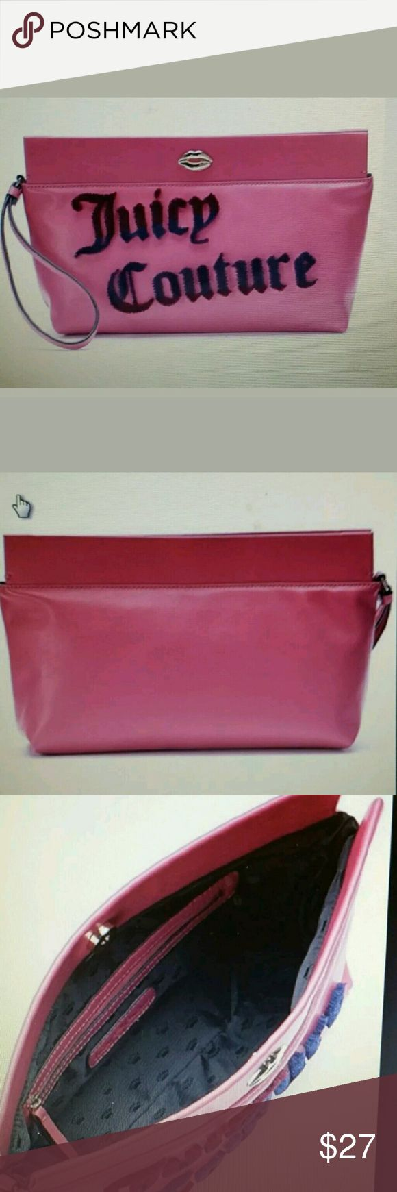 """JUICY COUTURE FLOCKED PINK WOMEN'S WRISTLET/WALLET COLOR:??PINK  MATERIAL:?FAUX LEATHER,  Carry this stylish Juicy Couture wristlet for a fashionable look and ionic flair. This Juicy Couture wristlet features Juicy Couture logo. Product details 7.5"""" H x 12.5"""" W x 3.25"""" D Approx. Wrist strap, Magnetic snap closure. Interior zip pocket. Juicy Couture Bags Clutches & Wristlets"""