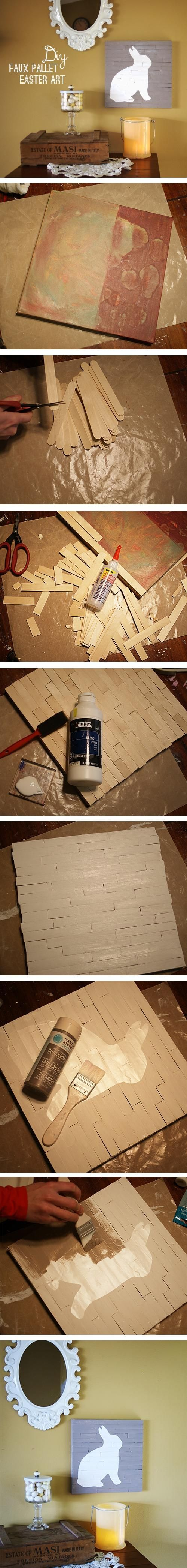Make Faux Wood Pallet Art I think would be great done with a leaf an not a rabbit!
