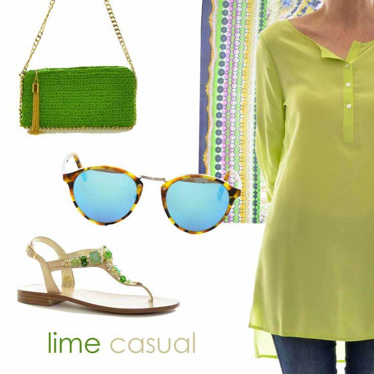 Un'estate dal sapore LIME! Mixa i dettagli e crea un pattern originale di stile un po' esotico. Da http://www.marsilistore.it/ trovi tutto ciò che ti serve! #casual #sandals #minibags