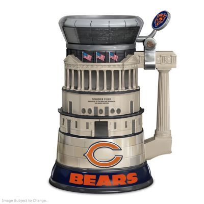 Officially licensed Chicago Bears Soldier Field stein features logos, game day images and historical facts. Look inside lid to see view of the field!
