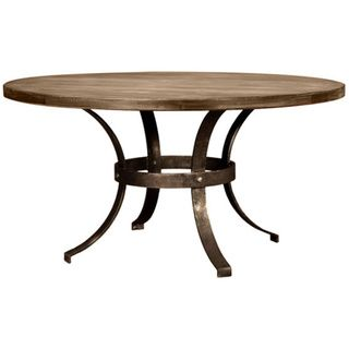 Tahoe Wrought Iron Reclaimed Wood Round Dining Table by South