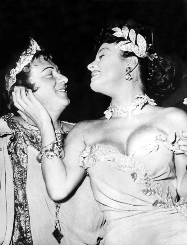 "Gino Cervi and Silvana Pampanini. Promotional photo for Mario Soldati's ""O.K. Nerone"" (English title: ""O.K. Nero!"", 1951)."
