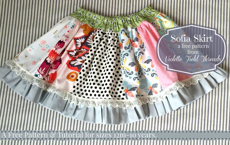 Free Skirt Sewing Tutorial by Violette Field Threads for sizes 12m-10y
