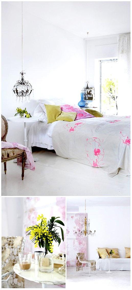 I love the crisp colors: Interior Design, Decor, Idea, Bedside Lamp, Color, Dream, Bedroom Design, Bedrooms, White Bedroom