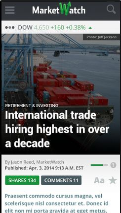 Here's a sneak peek at MarketWatch's new mobile-optimized article pages – What do you think? - Looking Forward - MarketWatch