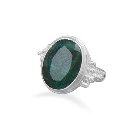CR05069 - Large Oval Rough-Cut Emerald and Sterling Silver Ring #loinnedesigns #emeralds #rings #style #love