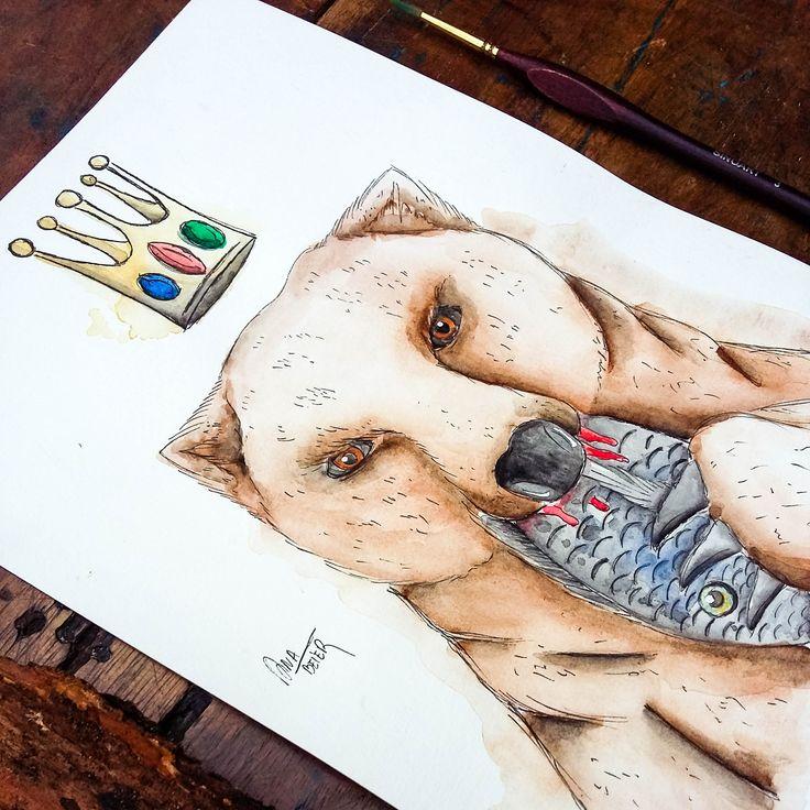 Watercolor Bear the King of the Forest. @anacbeier - Facebook/anacristibeierilustrações.com