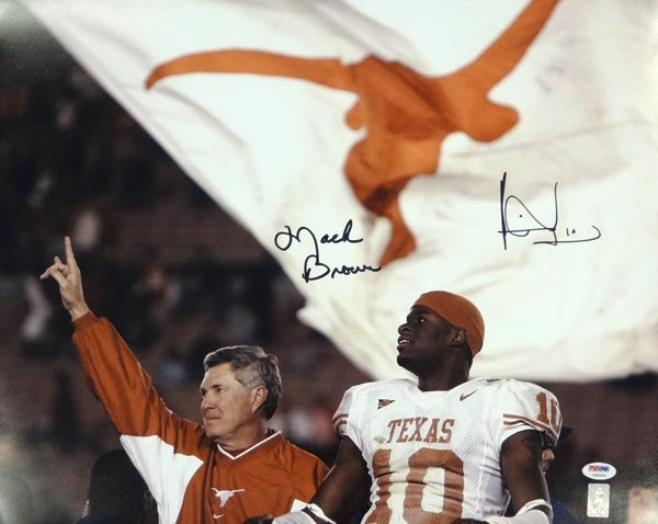 Mack Brown & Vince Young Autographed 16x20 Photo Texas Longhorns PSA/DNA