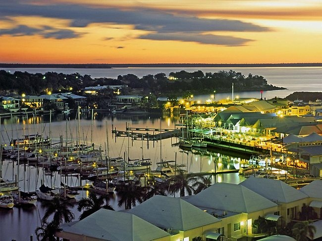 Cullen Bay, a pleasure-craft marina precinct with shops, restaurants and expensive apartments less than 2km from Darwin's CBD (Australia). Picture: Tourism NT.