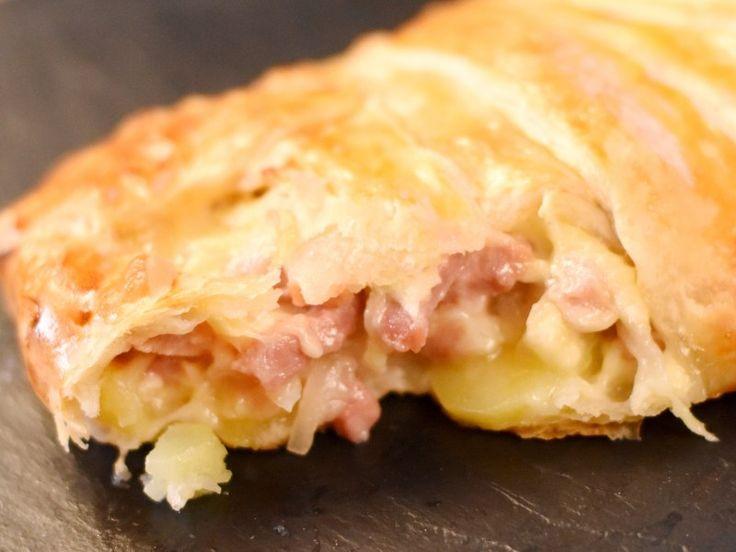 pâte feuilletée, pomme de terre, lardons, oeuf, Fromages