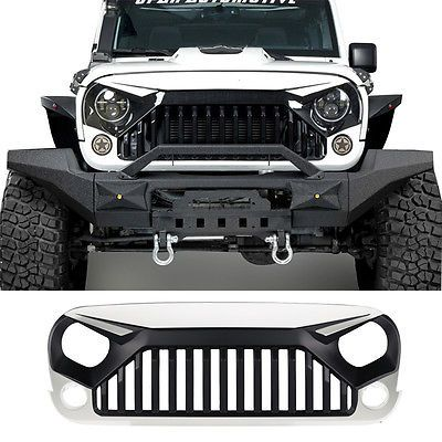 White Front Topfire Grille Grid Grill for Jeep Wrangler JK 2011-2017 2Door/4Door