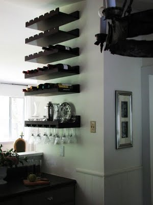love this...not sure the hanging glasses are a good idea, but maybe under I could put a liquor cabinet?!