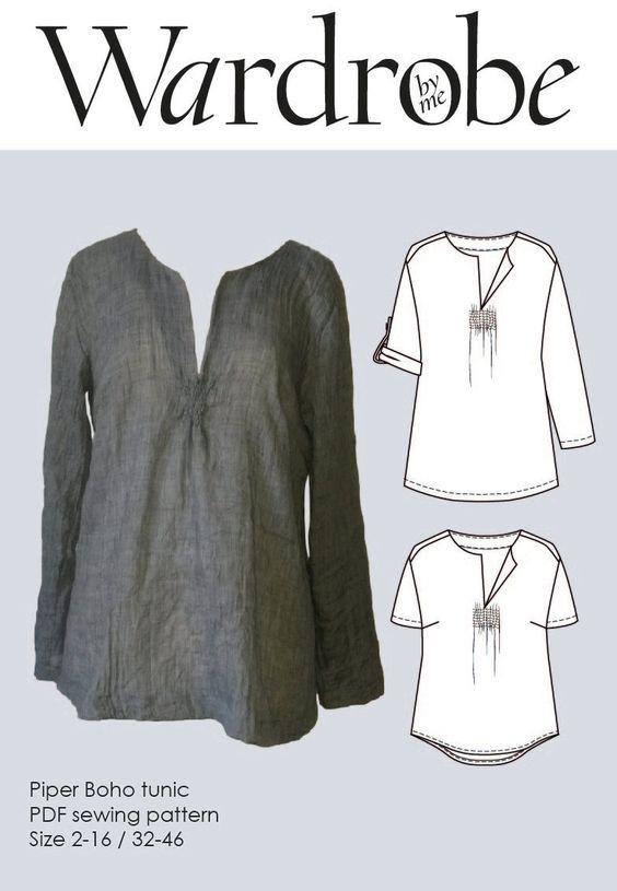 PDF sewing pattern//Piper Boho Tunic//Wardrobe by me//Tunic PDF pattern//Shirt sewing pattern//DIY sewing//Easy sewing pdf//Fashion pattern - pinned by pin4etsy.com: