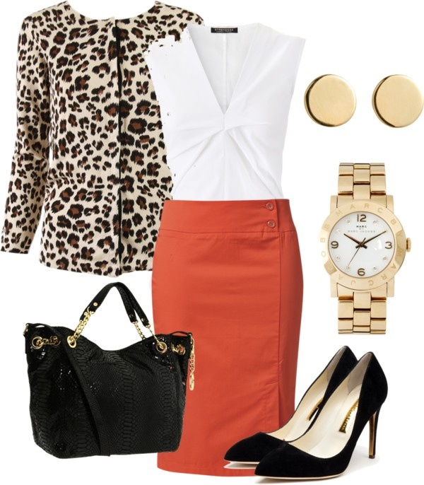 """work outfit with animal print"" by romina-sanchez on Polyvore"