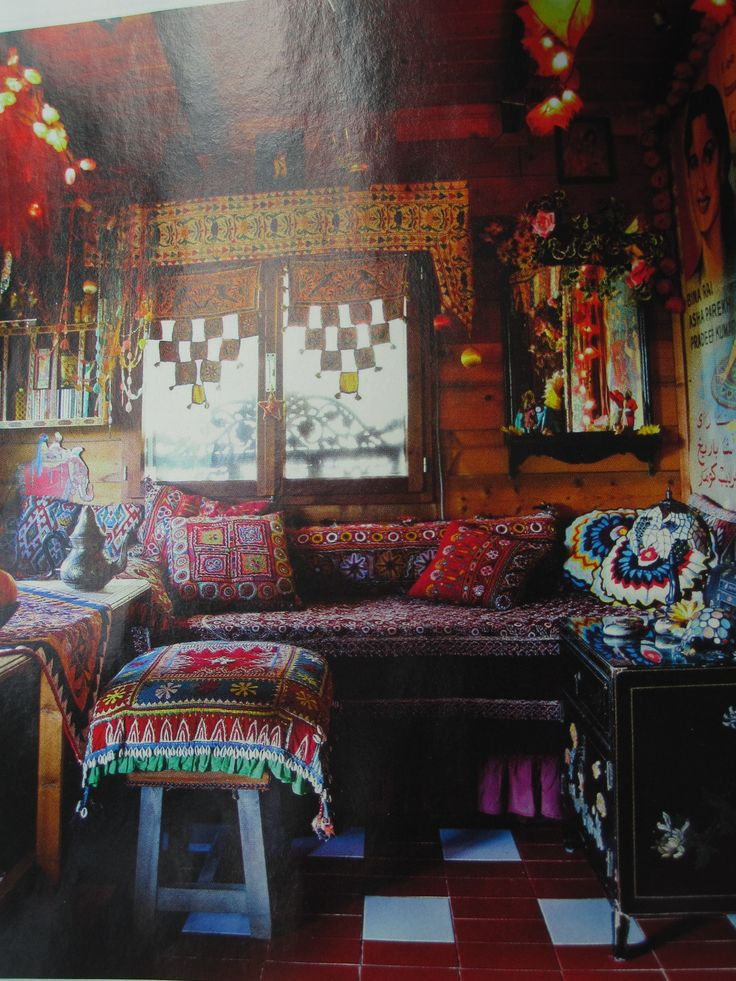 I could sit here drinking tea all day and wine all night for Hippie bedroom designs