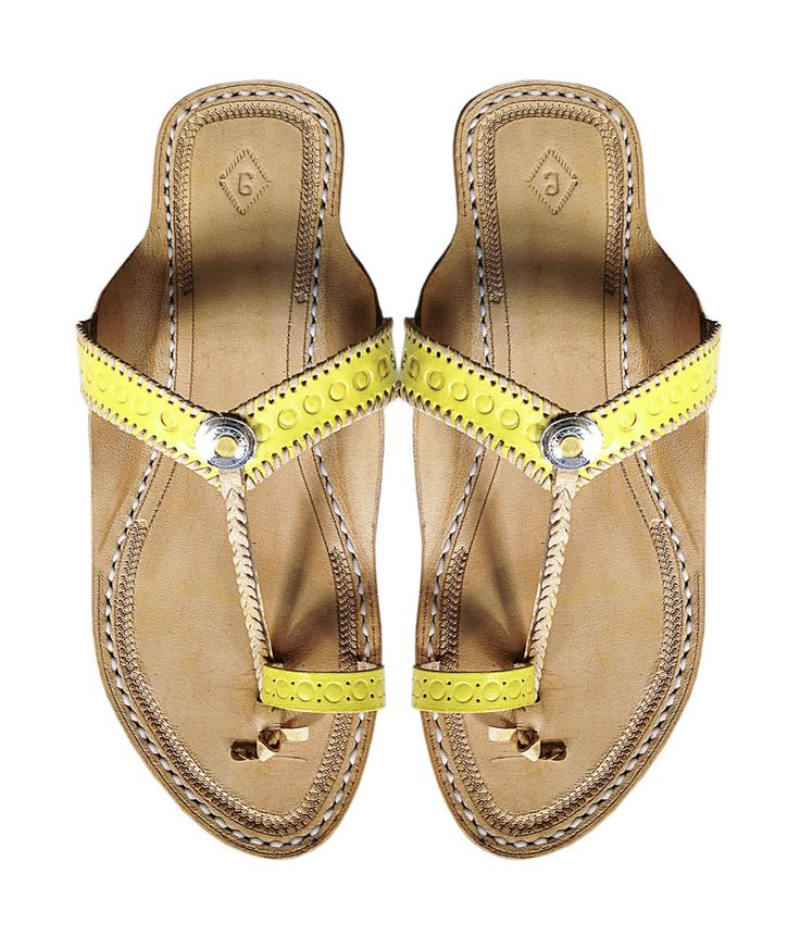 Yellow Designers Ladies Leather Sandal DLC-W-009 by kolhapurichappals on Etsy