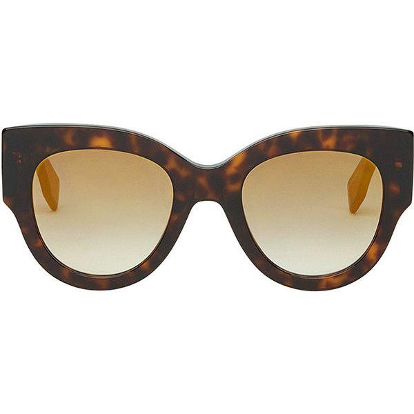 Fendi Eyewear Facets sunglasses ($315) ❤ liked on Polyvore featuring accessories, eyewear, sunglasses, brown, brown cat eye sunglasses, tinted lens sunglasses, tortoiseshell sunglasses, plastic sunglasses and cat-eye glasses