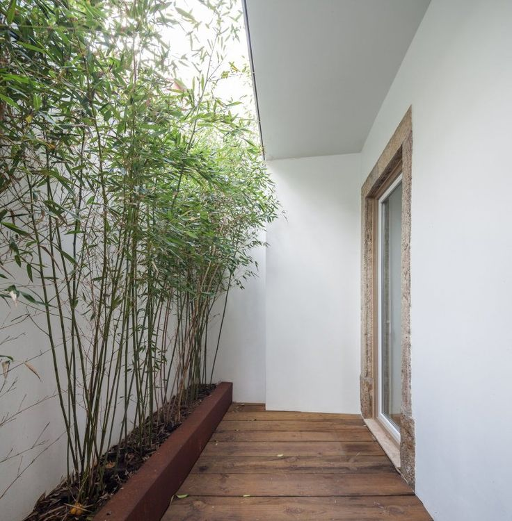 Small, half-roofed patio with wooden floor