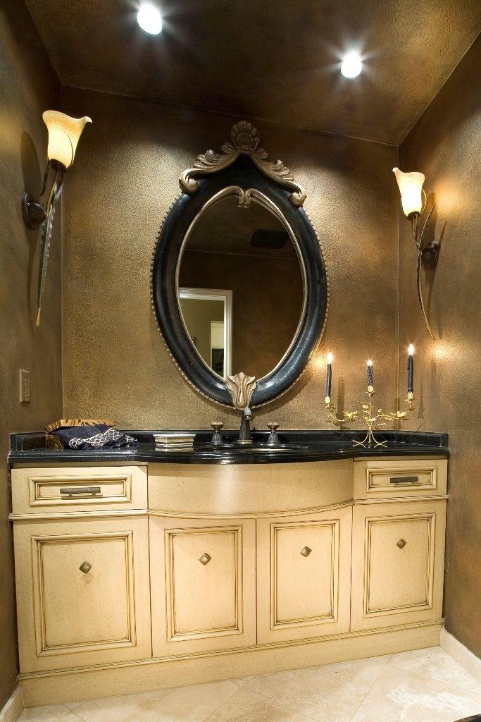 Granduer Schwarze Dekorative Doppel Waschtisch Spiegel Mit Kreide
