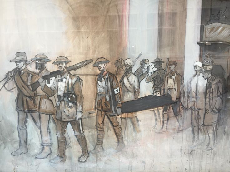 An amazing painting of troops in WW1 on a bar window in Ypres, Belgium.