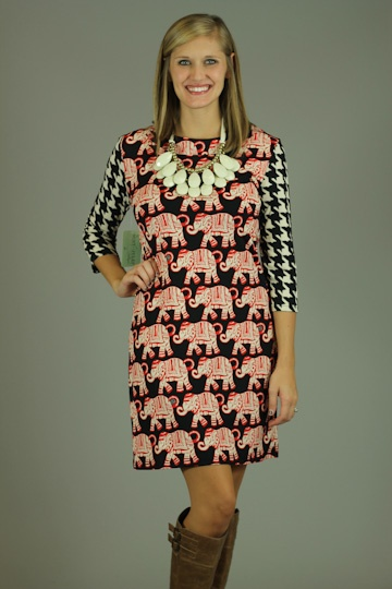 RED ELEPHANTS DRESS...This just might be the CUTEST gameday dress EVER made!!! We love the hound's-tooth and elephant print combo. The quarter length sleeves make this dress appropriate for ANY age, while the shift shape definitely gives this dress a classic look. One of the best things about this dress is that it has a side pocket with a tiny gold zipper! Standing out in the crowd won't be a problem in this dress!: Mint Julep Boutique, Houndstooth Sleeve