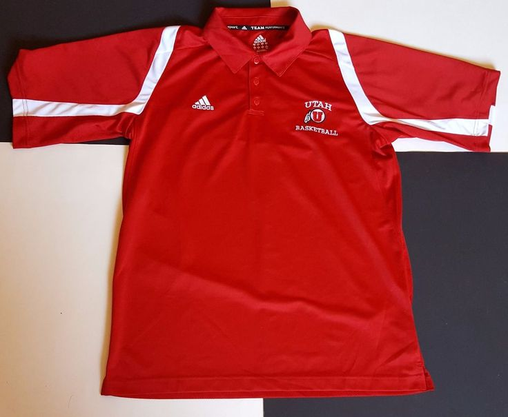 Adidas Utah Runnin Utes Basketball Golf Polo Shirt Clima Cool Vented NCAA Medium #Adidas #PoloRugby