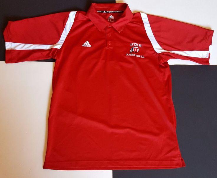 Adidas Utah Runnin Utes Basketball Golf Polo Shirt Clima Cool Vented NCAA Medium #Adidas #PoloRugby