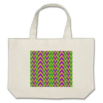 Mardi Gras Zigzags Large Tote Bag  $23.40  by ChevronCity  - cyo customize personalize unique diy idea