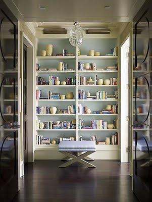 Oh, I love this blue !  Beautiful Blue Bookshelves...serious styling envy