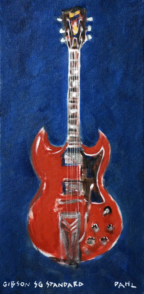 "Gibson SG Standard Chris Dahl 2011 16x20"" giclée signed artist's proof (unframed) now available $180.  Free shipping worldwide. http://chrisdahlcreative.com/paintings_page2010portraits.html"