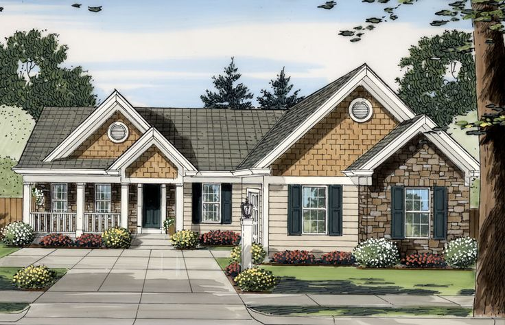 This affordable one-story ranch house plan is ideal for a first time homebuyer and features plenty of living space in just under 1,500 square foot footprint. http://www.thehousedesigners.com/plan/oakbrook-iv-9101/ Oakbrook IV House Plan 9101 - 3 Bedrooms and 2 Baths | The House Designers