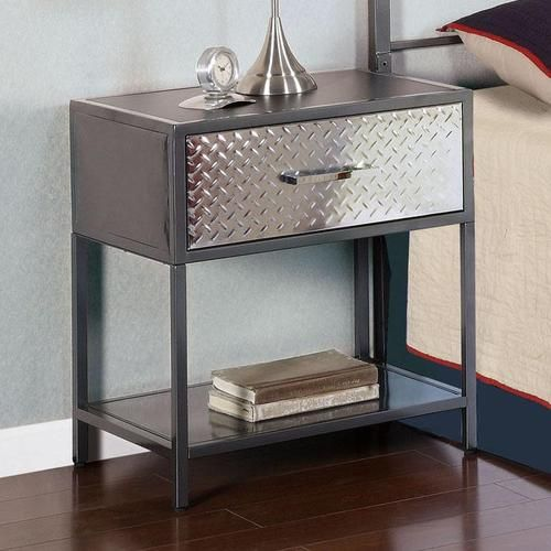 Monster Metal Nightstand With Diamond Plated Drawer Front
