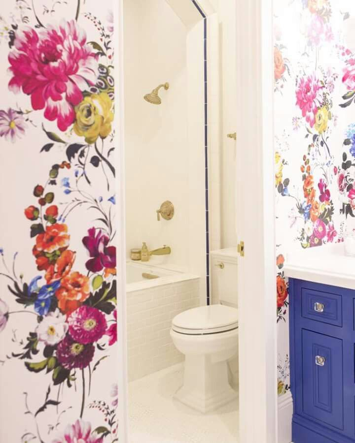 25 best ideas about floral wallpapers on pinterest for Bright bathroom wallpaper