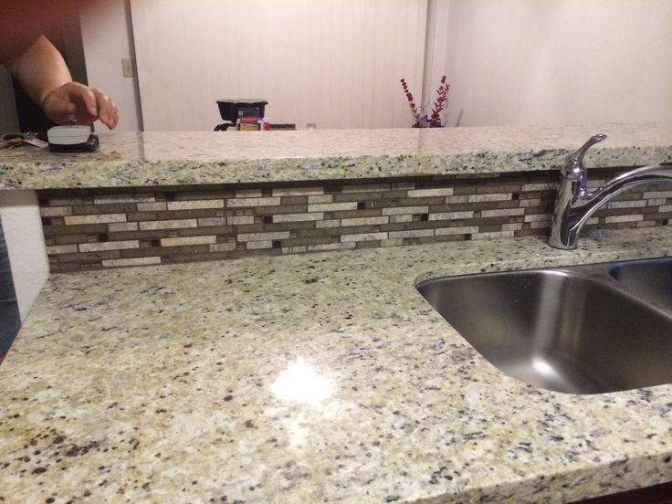 Giallo Fiesta Granite W Backsplash Kitchen Remodel