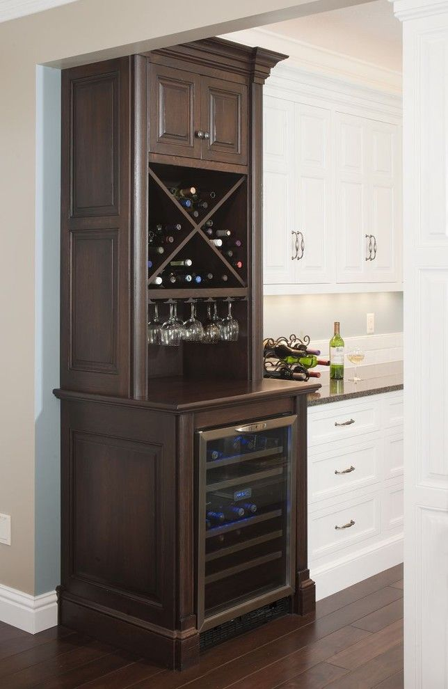 corner wine cabinet Kitchen Traditional with Custom Cabinetry dark stained