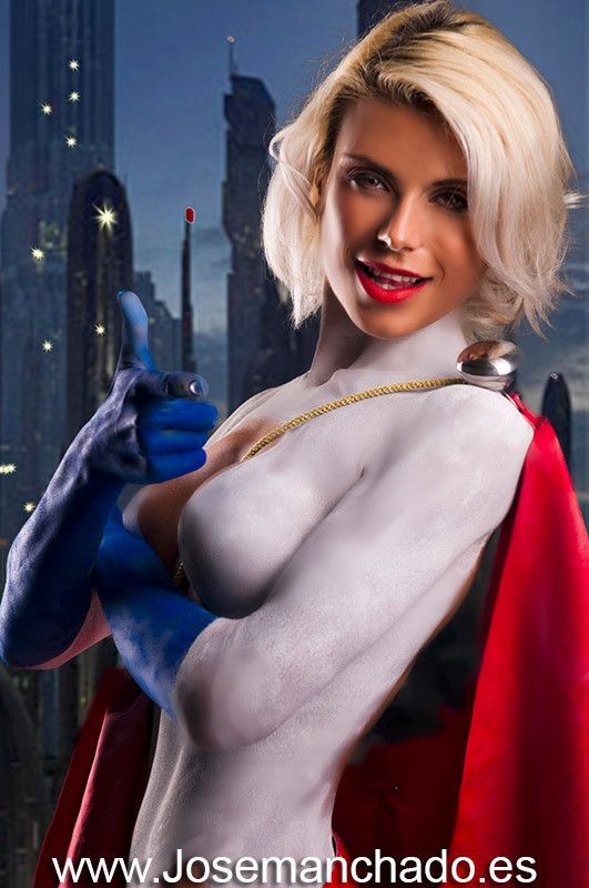 With powergirl nude bodypaint sexy image