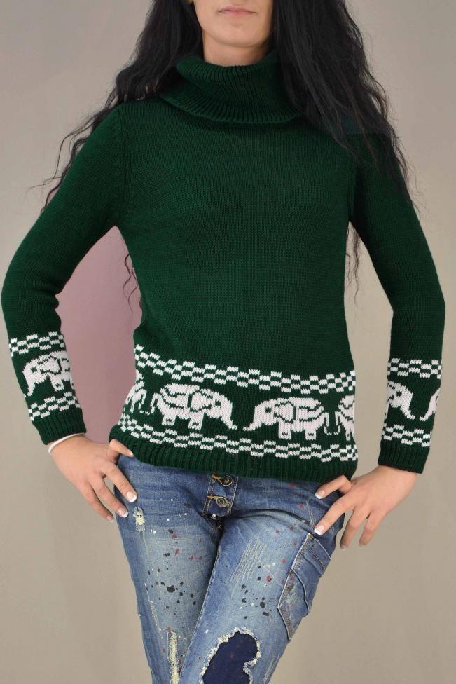 Γυναικείο πουλόβερ ζιβάγκο  PLEK-2727-grn  Πλεκτά > Πλεκτά και ζακέτες
