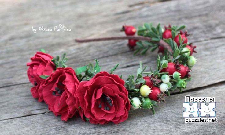 Венок с цветами из фоамирана мастера Оксаны Панькной