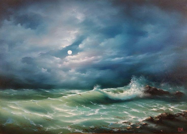 живопись - морской пейзаж, купить картину Ночной берег