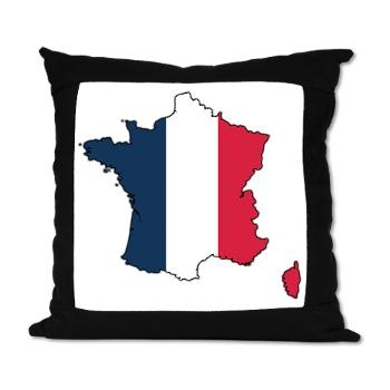 Flag Map of France Suede Pillow