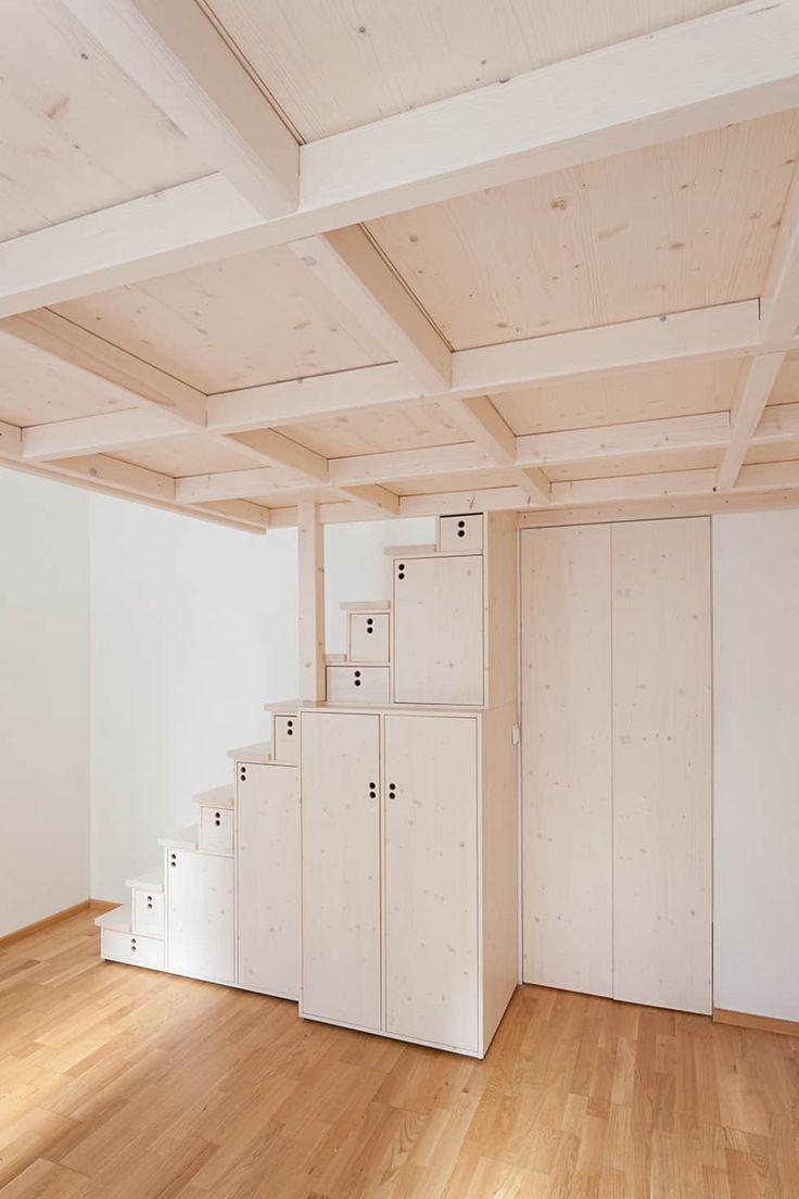 Hochbett Mit Japanischer Stiege In Fichte , Weiß Lasiert.: Moderne  Schlafzimmer Von Individual Furniture