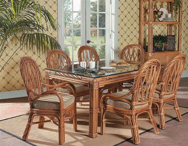 South Sea Rattan New Twist 7 Piece Indoor Dining Set In