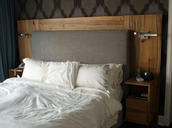 fabric + wood + built in nightstands & lighting ...