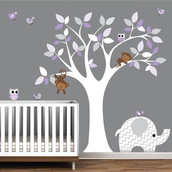 Wall Art Decor Jungle Decal Elephant Owl Monkey by Modernwalls, $145.00